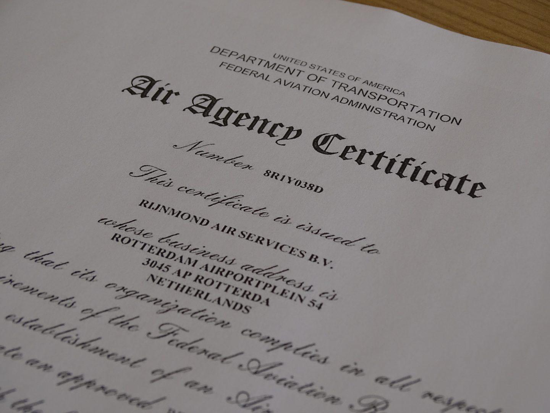 Ras Receives Faa Certification Rijnmond Air Services Bv